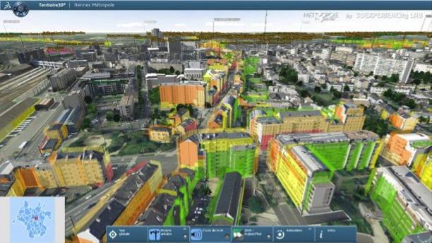 Rennes, vue par le logiciel 3DEXPERIENCity. © Dassault Systèmes
